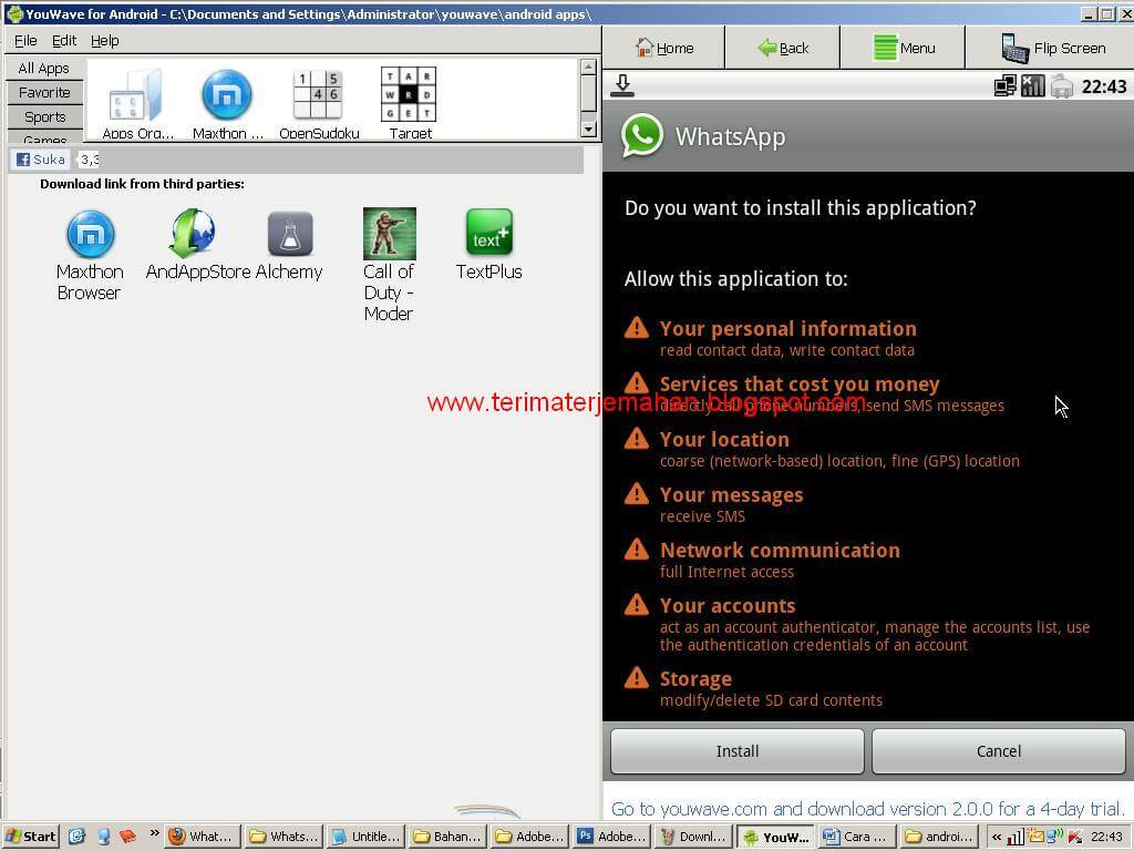 Cara Memasang Whatsapp Di Komputer Win XP 12