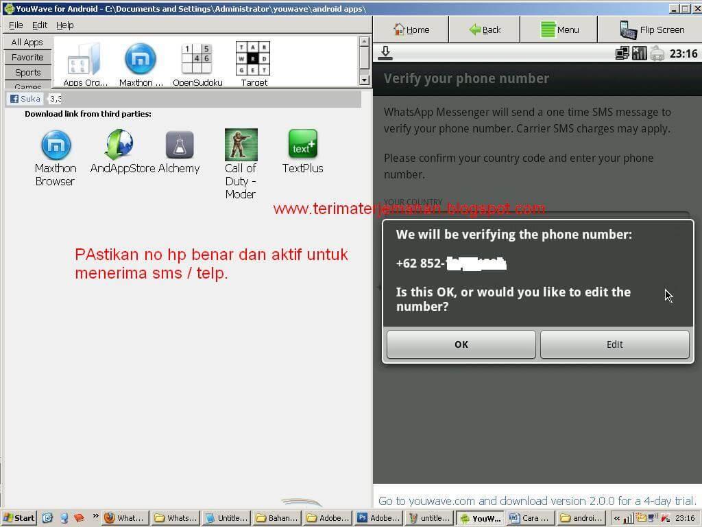 Cara Memasang Whatsapp Di Komputer Win XP 15