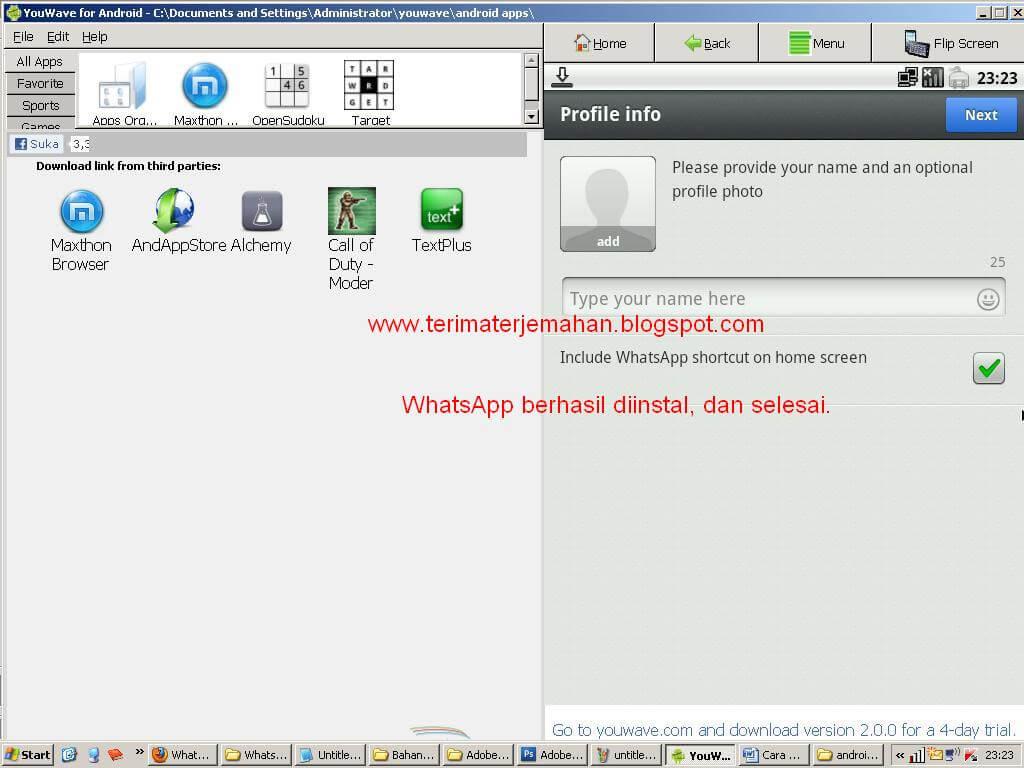 Cara Memasang Whatsapp Di Komputer Win XP 18