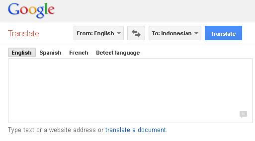 Contoh Tampilan Google Terjemahan