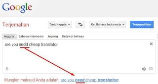 Google Translate Sebagai Pemeriksa Ejaan Kata