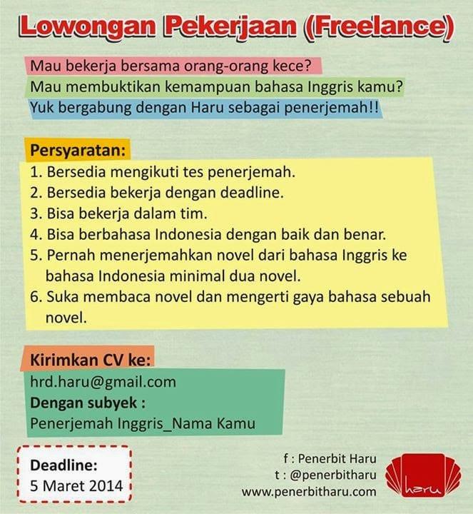 Lowongan penerjemah novel Inggris Indonesia dari Penerbit Haru