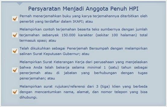 Syarat Pendaftaran Anggota Penuh Penerjemah (Translator)