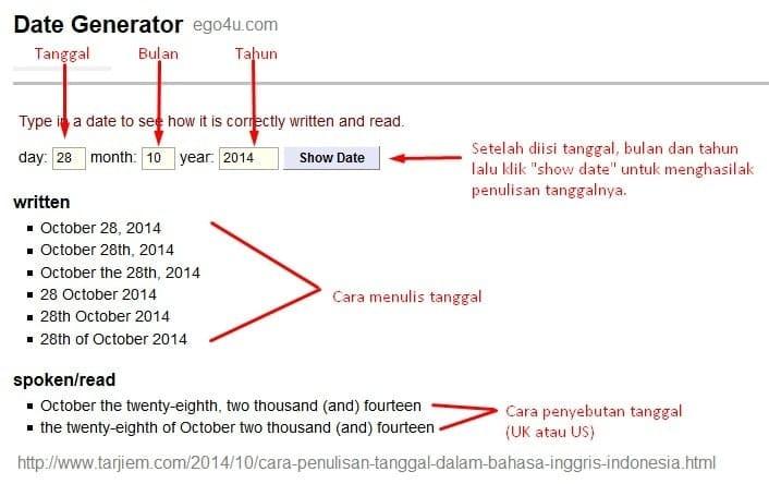 Cara Penulisan Tanggal Dalam Bahasa Inggris Menggunakan Generator Tanggal ego4u.com