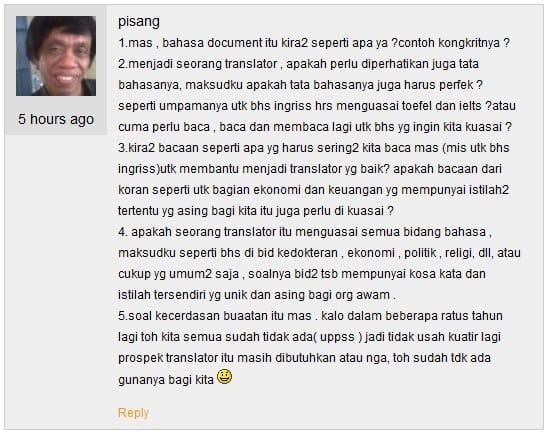 Pertanyaan penerjemahan yang diajukan jasa terjemahan