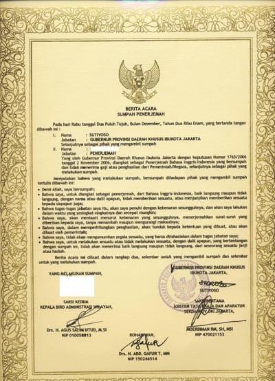 Contoh-Contoh SK Penerjemah Tersumpah