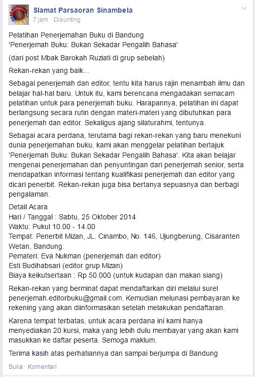 Pelatihan Penerjemahan Buku di Bandung 25 Oktober 2014