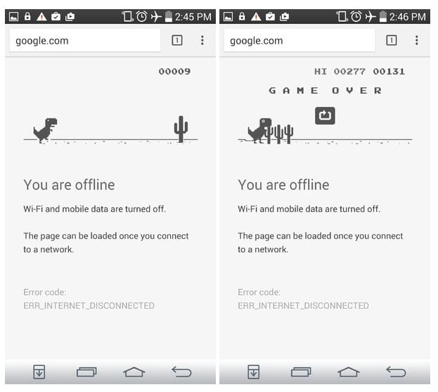 Game Dinosaurus offline di google chrome