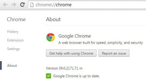 Penjelajah Google Chrome versi 39