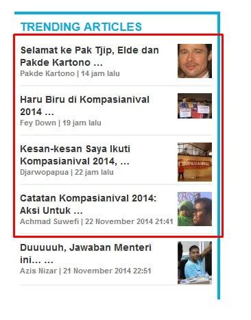 Trending Article kompasiana.com tgl 23 Nov 2014 malam hari.