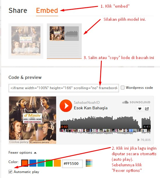 Cara Pasang soundcloud di blogspot