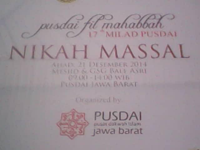 Jadwal acara nikah massal Masjid Pusdai.