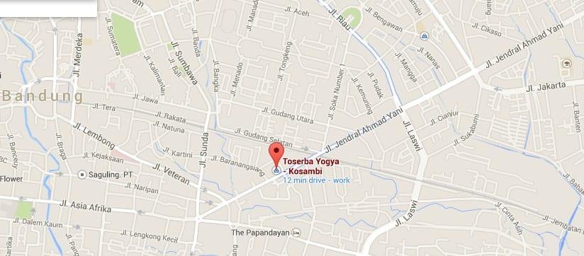 Peta lokasi Mall Jaya Plaza Kosambi di Bandung.