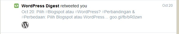 Salah satu tweet saya yang di-retweet oleh wordpress.