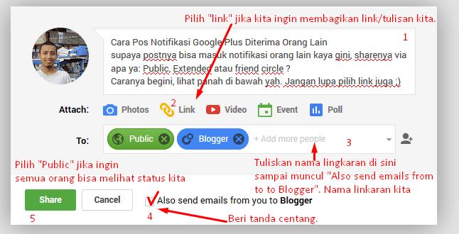 Cara membagikan status di google plus