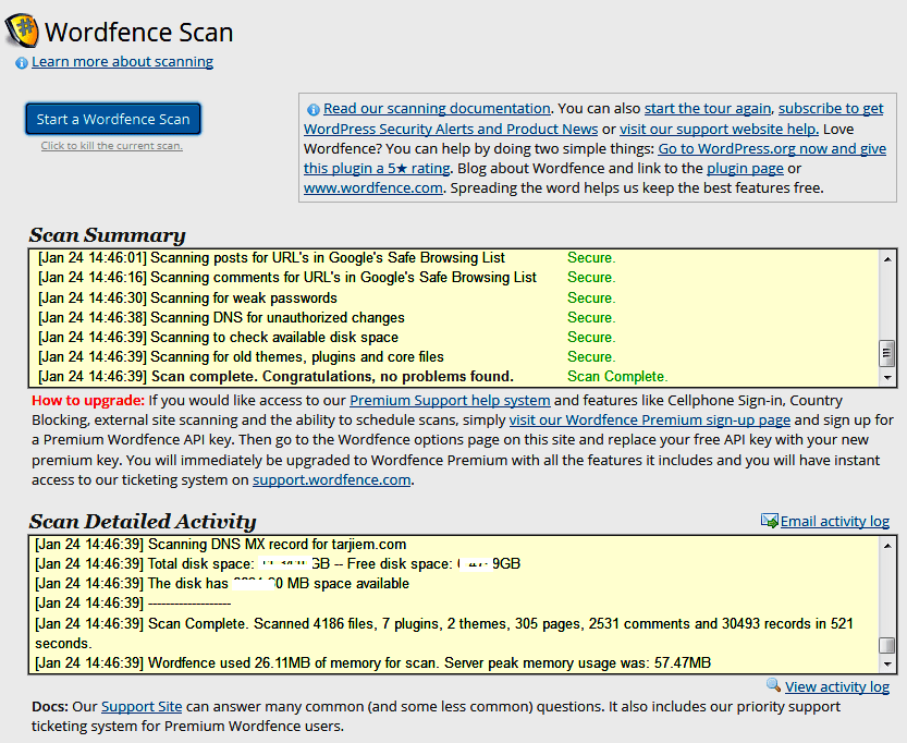Hasil pemeriksaan wordfence plugin wordpress.