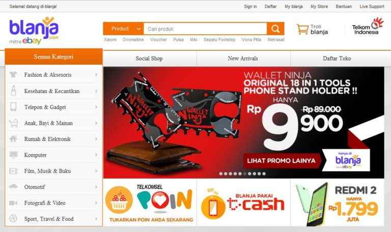 Halaman Depan Situs Blanja.com