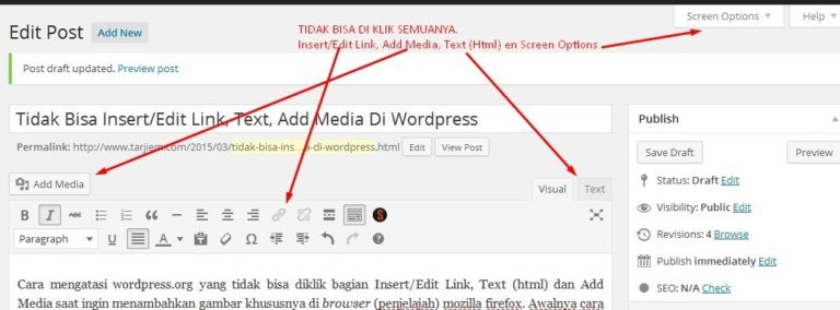 Tidak Bisa Klik Insert/Edit Link, Add Media, Text (html) di blog Wordpress