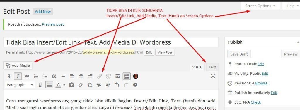 Tidak Bisa Insert/Edit Link, Text, Add Media Di WordPress