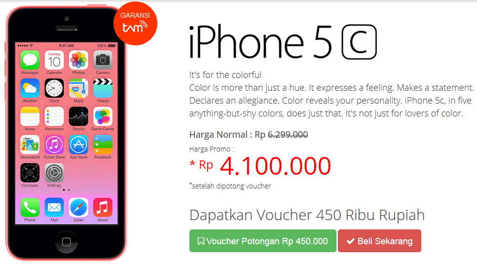 Promo Apple iPhone 5C 8GB Potonganya Sampai 1,7 Juta