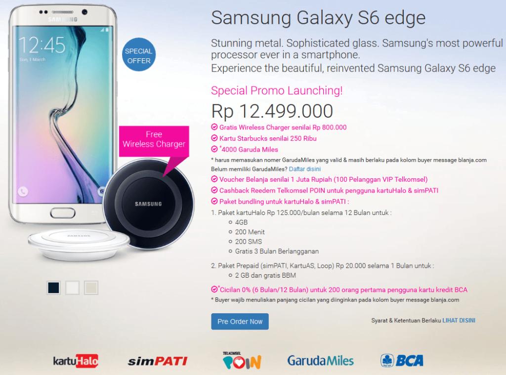 Promo Awal Samsung Galaxy S6 Edge