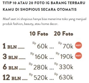 Biaya pasang iklan di Shopious