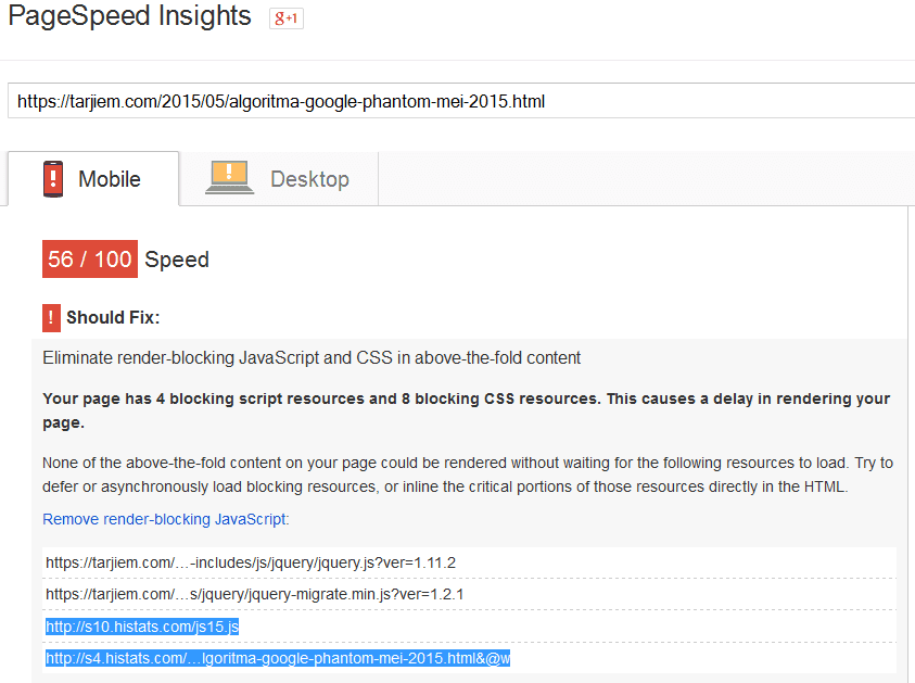 Histats pada googlespeed insight