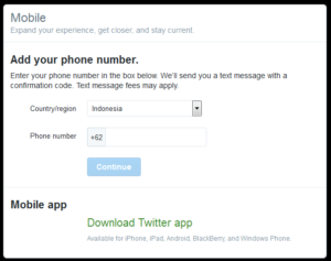 Halaman verifikasi nomor telepon twitter.