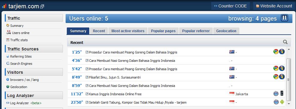 Contoh tampilan histats.com situs tarjiem.com