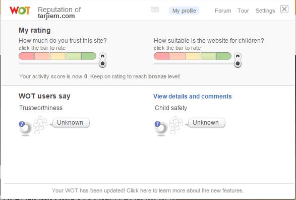 Reputasi WOT tarjiem.com saat ini