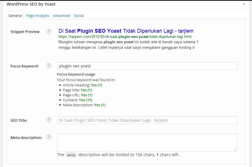 "Hasil analisis seo on page oleh ""wordpress seo by Yoast"""