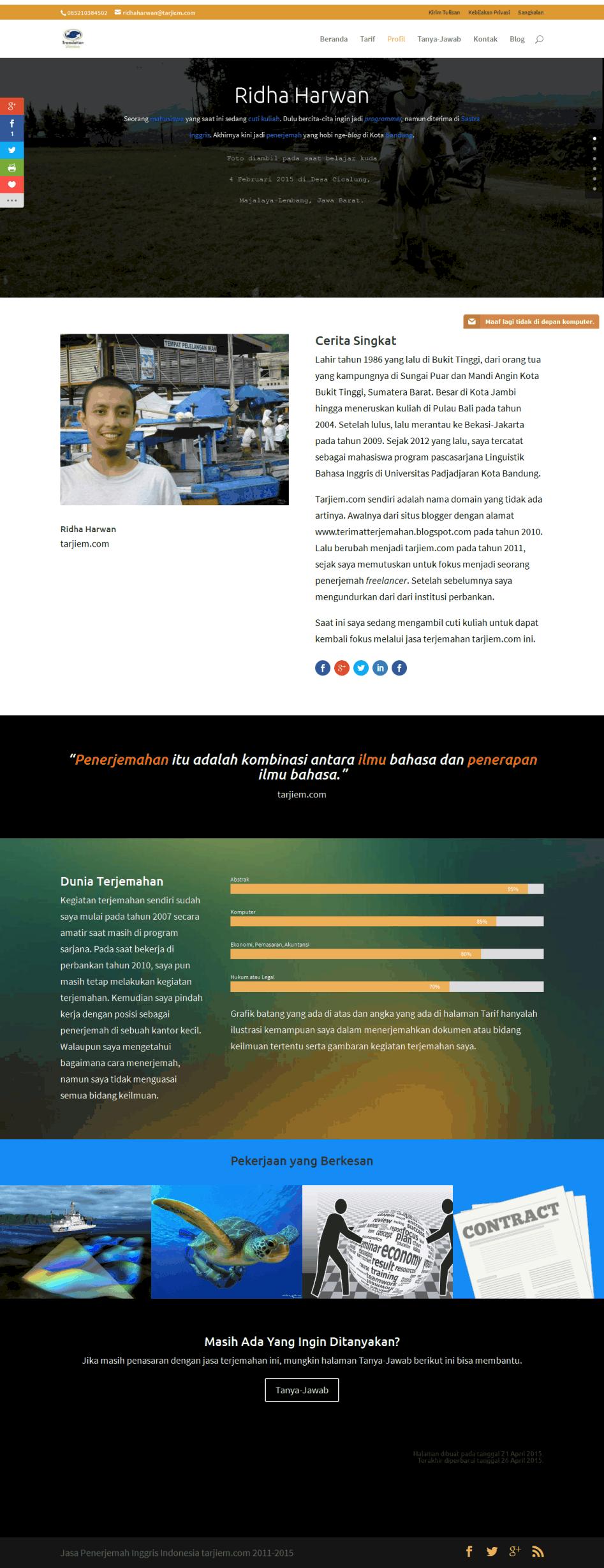 Desain halaman profil tarjiem divi