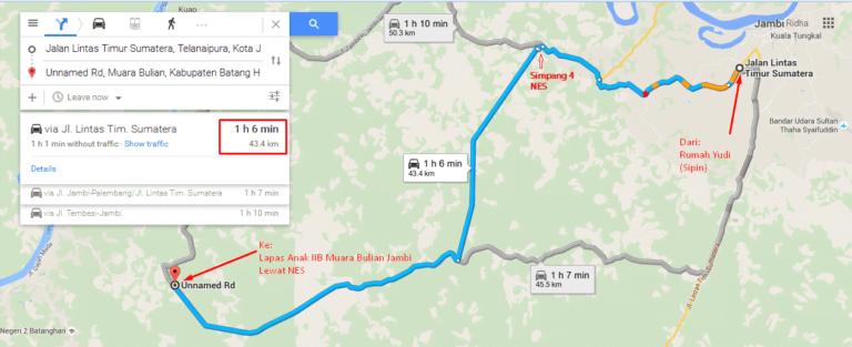 Peta perjalanan, Sipin-NES-Muara Bulian.