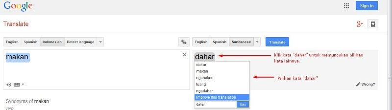Google Translate Bahasa Indonesia ke Bahasa Sunda (Kamus).