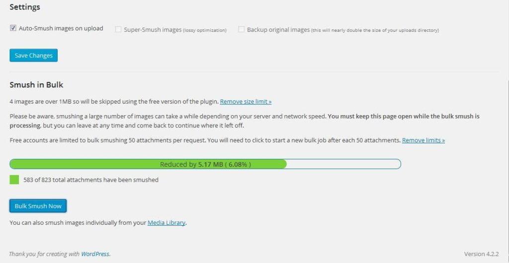 Proses Pemadatan Gambar WP Smush Plugin Wordpress