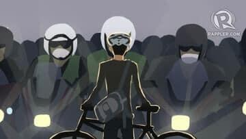 Ilustrasi Elanto menghadang kendaraan motor gede. (rappler.com)