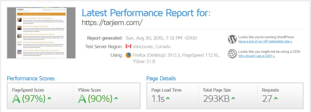 Hasil Gtmetrix Dengan Plugin W3 Total Cache (08/15)