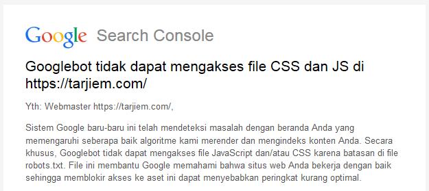 Surat Googlebot tidak dapat mengakses file CSS dan JS