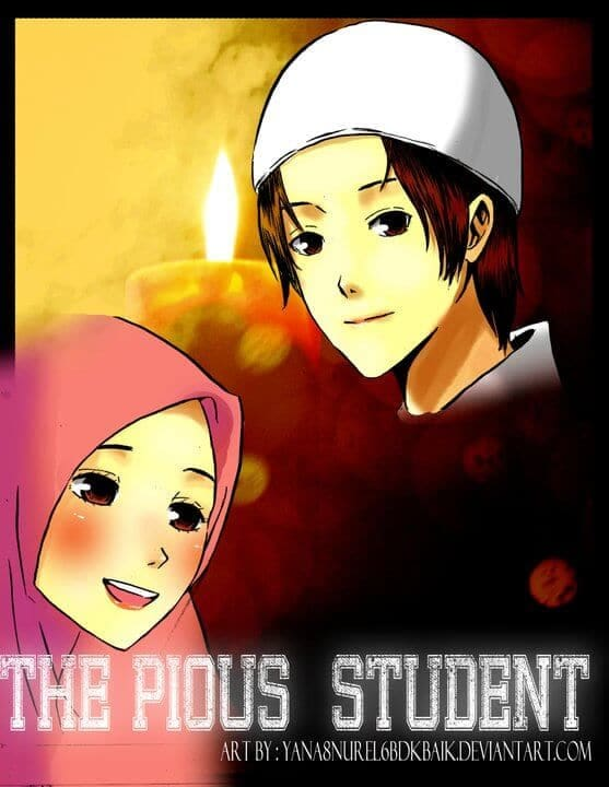 "Judul Komik Cinta bergambar ""The Pious Student"" Halaman 1"
