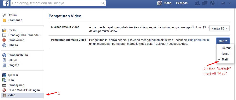 Cara Mematikan Autoplay Facebook Video