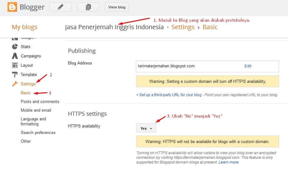 Cara mengubah blogspot http ke https
