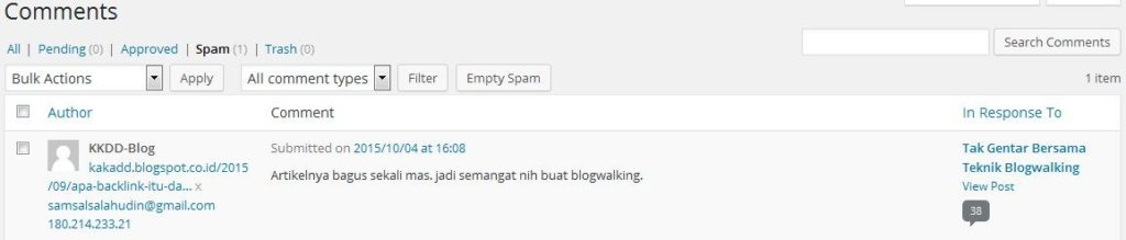 Contoh Komentar Blogspot yang dikira Spam
