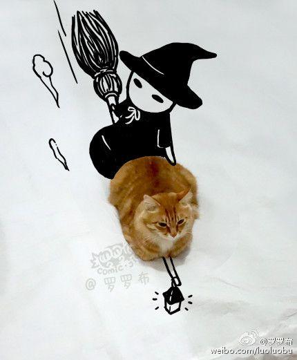 Kucing Sedang Terbang Naik Sapu Ajaib
