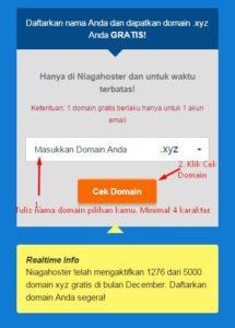 Masukkan Domain xyz Gratis Niagahoster.co.id