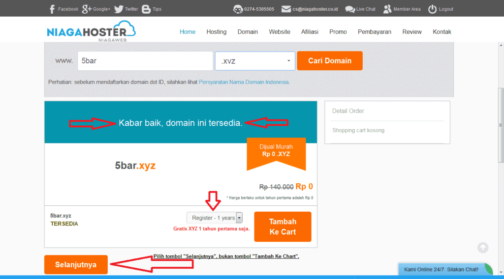 domain xyz gratis niagahoster.co.id tersedia