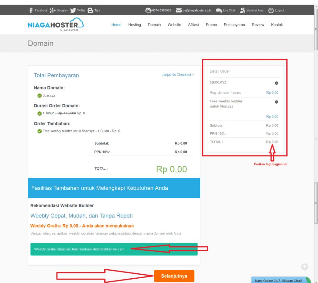 Halaman Pembayaran Domain-gratis-niagahoster Website Builder