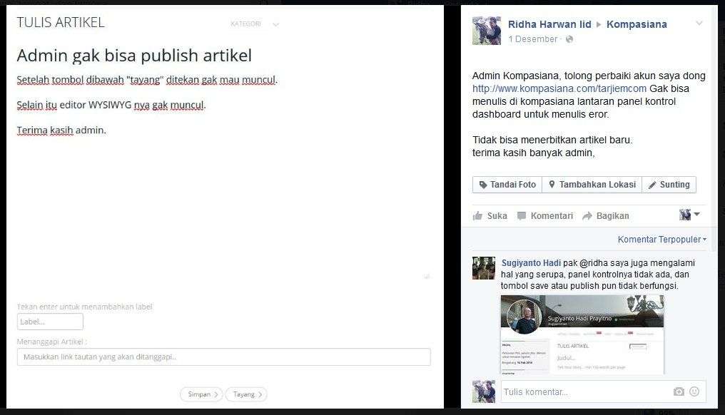 Mencoba Menghubungi Admin Kompasiana via Facebook