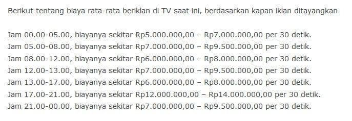 Daftar Tarif Iklan Televisi Indonesia