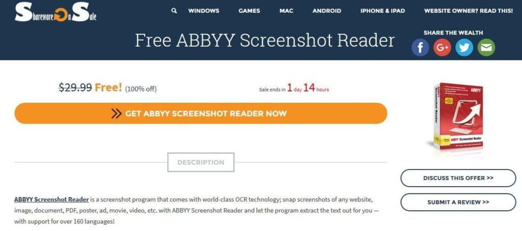 Informasi ABBYY Screenshot Reader gratis dari sharewareonsale dot com.