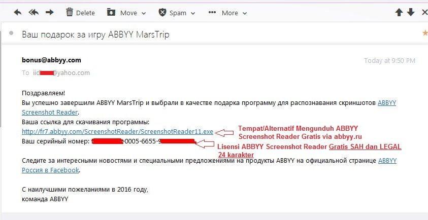 Surat Lisensi Resmi Gratis ABBYY Screenshot Reader